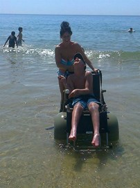 Jacob in a beach wheelchair 2012