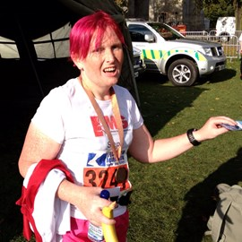 Hehe, this is about 90 seconds after I finished the marathon :) I look really happy at having my photo taken don't I :-)