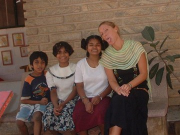 Jo in Bangalore Orphanage where she volunteered whilst living in India in 2005