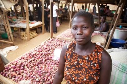 Onion vendor, Kitgum market, Uganda