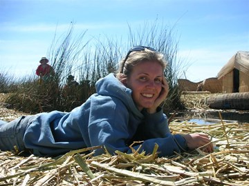 Hannah at Lake Titicaca