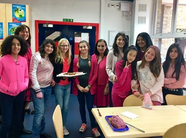 Dwight School London students on their Wear It Pink Day