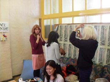 Silly wigs at Art Fair!