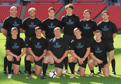 Sarries proudly wearing Hospice t-shirts