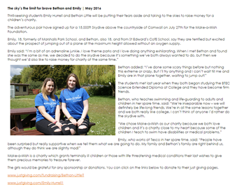 Our college has been very supportive and added a little story about our skydive