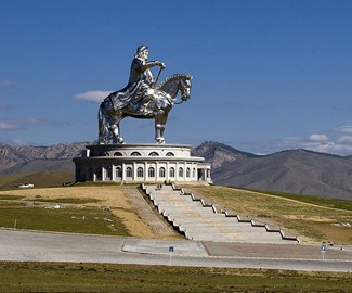 Genghis Khan stands guard over Mongolia