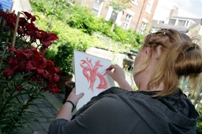Drawing in the garden