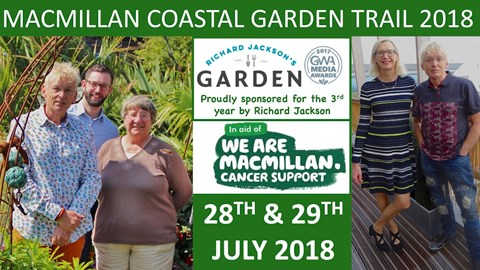 Trail Patron is Tv Gardener Christine Walkden, seen here with trail organiser, Geoff Stonebanks along with Tom Carter from macmillan. On the right Macmillan's CEO, Lynda Thomas and Geoff at Macmillan Horizon Centre in Brighton