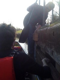 An unconventional way to enter a canoe