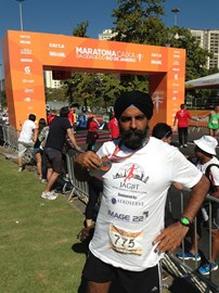 Jagjit at the finish of his 100th Marathon