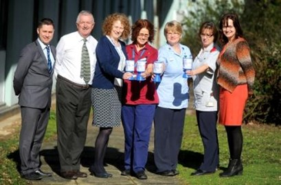 Hospital staff and representatives from the Mercury newspapers and EADT at the launch of the Charity's 2014 fundraising campaign