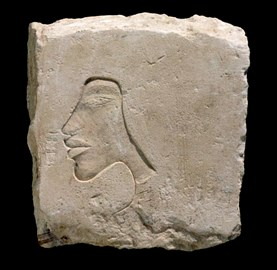 The face of Akhenaten on a sculptor's trial piece found in the Central City in 2005