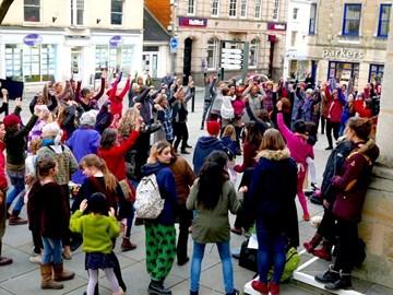 She Sings and Nia Dance flashmob Stroud