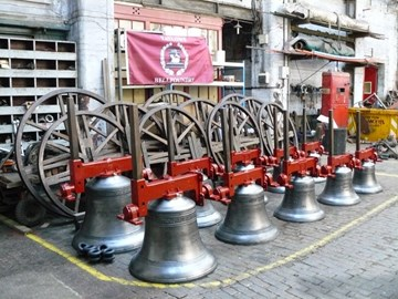 A new ring of ten bells at John Taylor's Bellfoundry, Loughborough.