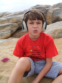 My Cousin Jamie with his fave headphones