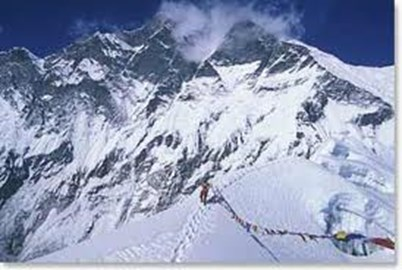 Island Peak summit with Everest behind