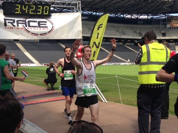 At the finish line, a very relieved man!
