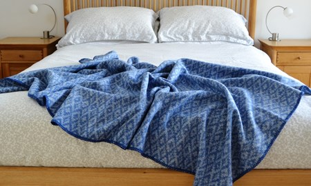 Keynvor - from The Trevose Head Collection - a blue throw to represent the rugged sea surrounding Trevose Head