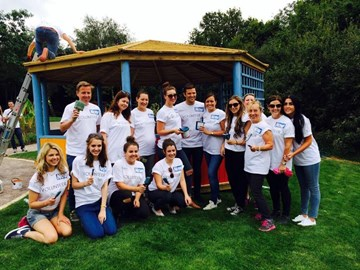 Mark Wright with the volunteers