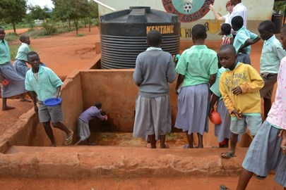 Water collection systems provide drinking water at school.