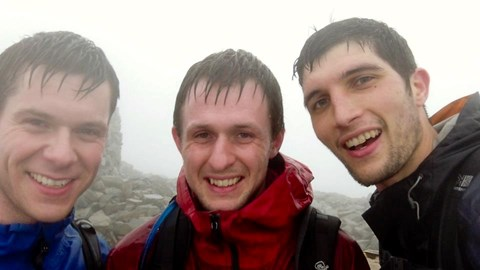 Quite wet on the summit of Scafell Pike