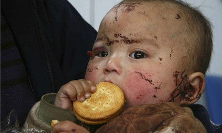 A nine-month-old earthquake victim.