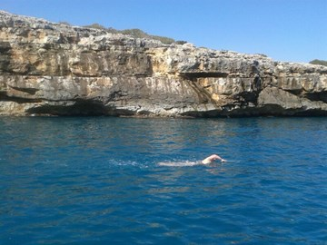 Training in Majorca at Swim Trek camp - sunny but cold at 13 degrees... This photo is from 6 hour swim