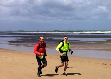 Harry and Mark on their way to completing the Dday 44-mile ultra on 6th June.