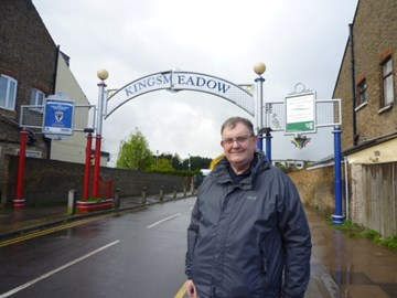 Leaving Kingsmeadow at start of walk