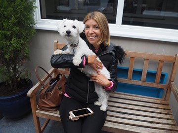 Oreo the dog - arrived at The Mayhew as his owner fell pregnant and no longer wanted him.... but thanks to their hard work he now has a new home!