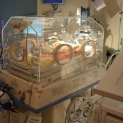 An incubator in the existing neonatal unit, which is about to be significantly expanded