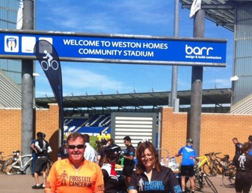 At Colchester FC's Stadum - only 30 miles to Harwich now!