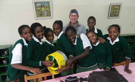 River Power Pod physics lesson with pupils from Don Bosco Secondary School, Embu