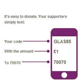 "Just text ""GLAS85"" with ""£2"" (or whatever ya fancy for a very generous donation or £20 for a ticket) to 70070"