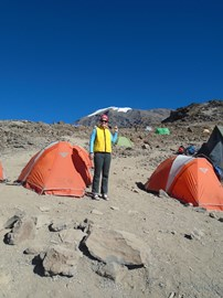 At base camp after my summit attempt. That mountain!