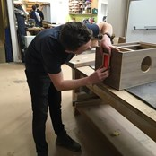 Apprentice carpenter c/o Young & Norgate builds camera at Didac Ltd, Woodwise Academy, Riverside