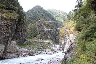 Day 2 - crossing the upper suspension bridge to climb above 3,000m