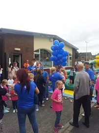 releasing of the balloons to tell cancer to do one