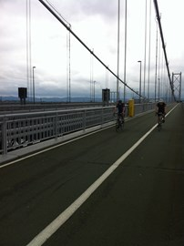 Kevin and David crossing the Forth Road Bridge in 2012, almost at the end of LeJog