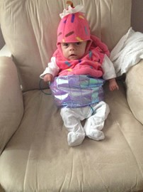 Ava ready for Halloween, shortly after coming home
