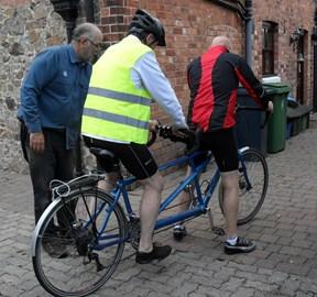 examining the bike