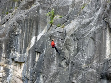Justin abseiling