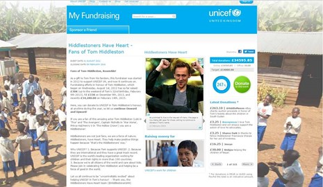 Fundraiser for Tom's 32nd birthday (started August 1st, 2012 and ended January 2016) on UNICEF UK's former fundraising platform. Amt. raised at closing £34595.85