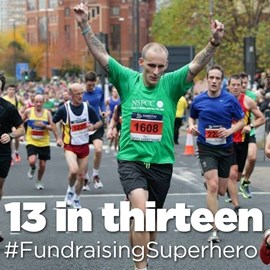 13 in Thriteen Fundraising Super Hero, awarded by JustGiving