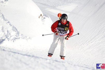 Justin taking part in the 2014 White Ring Race, Lech, Austria