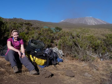 Georgina with Kili in the background