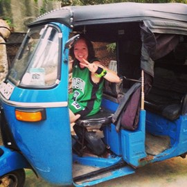 Rickshaw driver in training