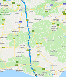 Day 1: London to Newhaven - 90km/56 miles