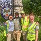 Kelly Zeller, Nick Oberfrank, Matt Farrington, and Jane Kersch. Sandbagging, Clarksville. (May 2019)