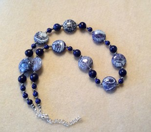 Blue weathered agate and lapis lazuli necklace. For sale by Rosey Lowry.
